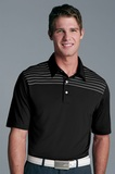 Greg Norman Play Dry Engineered Stripe Knit Polo Shirt Black with White Thumbnail