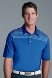 Greg Norman Play Dry Engineered Stripe Knit Polo Shirt Cobalt with White Thumbnail