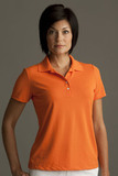 Greg Norman Women's Play Dry Performance Mesh Polo Orange Thumbnail