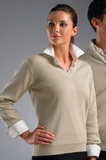 Greg Norman Women's V-neck Drop-needle Cotton Sweater Reed Thumbnail