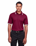 Men's CrownLux Performance™ Plaited Tipped Polo Burgundy with White Thumbnail
