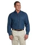 Harriton Men's Tall Long-Sleeve Denim Shirt Dark Denim Thumbnail