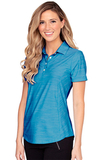 Women's Greg Norman Play Dry Heather Solid Polo Atlantic Blue Heather Thumbnail