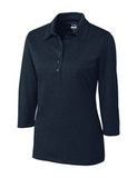 Women's Cutter & Buck DryTec 3/4 Sleeve Chelan Polo Shirt Navy Blue Heather Thumbnail