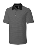 Cutter & Buck Men's DryTec Big & Tall Trevor Stripe Polo Shirt Black with Oxide Thumbnail