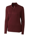 Women's Cutter & Buck Long Sleeve Belfair Half-Zip Mock Turtleneck Bordeaux Thumbnail