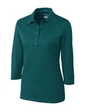 Women's Cutter & Buck DryTec 3/4 Sleeve Chelan Polo Shirt Midnight Green Heather Thumbnail