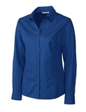 Women's Cutter & Buck Big & Tall Long Sleeve Epic Easy Care Fine Twill French Blue Thumbnail