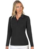 Antigua Women's Tribute Long Sleeve Polo Black Thumbnail