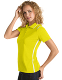 Women's Antigua Merit Desert Dry Polo Yellow with White Thumbnail