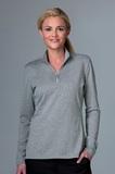 Greg Norman Women's Heathered 1/2-zip Jersey Knit Pullover Grey Heather Thumbnail