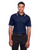 Men's CrownLux Performance™ Plaited Tipped Polo Navy with White Thumbnail