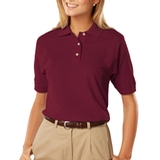 Women's 100 Egyptian Ringspun Cotton Polo Burgundy Thumbnail