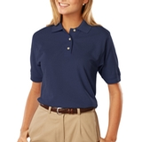 Women's 100 Egyptian Ringspun Cotton Polo Navy Thumbnail