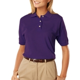 Women's 100 Egyptian Ringspun Cotton Polo Purple Thumbnail