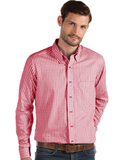 Antigua Men's Structure Dress Shirt Dark Red with White Thumbnail