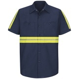 Men's Short Sleeve Enhanced Visibility Shirt Navy with Yellow Green Visibility Trim Thumbnail