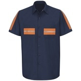 Men's Short Sleeve Enhanced Visibility Shirt Navy with Orange Visibility Trim Thumbnail
