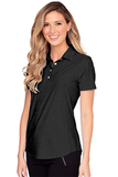 Women's Greg Norman Play Dry Heather Solid Polo Black Heather Thumbnail