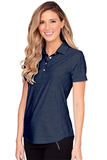 Women's Greg Norman Play Dry Heather Solid Polo Navy Heather Thumbnail