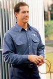 Long Sleeve Heathered Poplin Work Shirt Navy Thumbnail