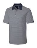 Cutter & Buck Men's DryTec Big & Tall Trevor Stripe Polo Shirt Onyx with White Thumbnail