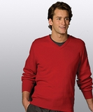 Men's 100 Cotton Cashmere V-neck Sweater Navy Thumbnail