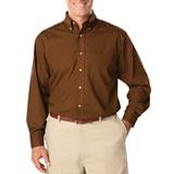 Men's Long Sleeve Easy Care Poplin Chocolate Thumbnail