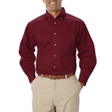 Men's Long Sleeve Teflon Treated Twill Burgundy Thumbnail