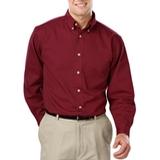 Men's 100% Cotton L/S Twill Shirt Burgundy Thumbnail