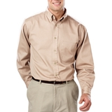 Men's 100% Cotton L/S Twill Shirt Natural Thumbnail