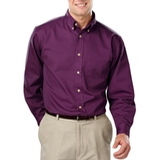 Men's 100% Cotton L/S Twill Shirt Purple Thumbnail