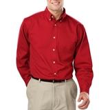Men's 100% Cotton L/S Twill Shirt Red Thumbnail
