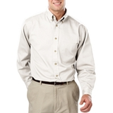 Men's 100% Cotton L/S Twill Shirt White Thumbnail