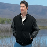 Men's Melton Wool And Leather Jacket With Stand Collar Thumbnail
