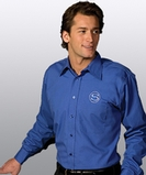 Men's Point Collar Poplin Shirt LS White Thumbnail