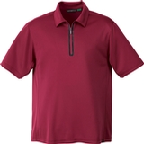 Men's Recycled Polyester/ Performance Polyester Zipped Polo Sport Red Thumbnail