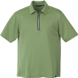 Men's Recycled Polyester/ Performance Polyester Zipped Polo Sweet Grass Thumbnail