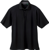 Men's Recycled Polyester Performance Waffle Polo Shirt Black Thumbnail