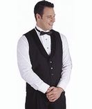 Men's Satin Shawl Vest Black Thumbnail