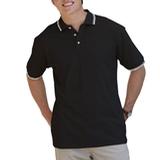 Men's Tipped Collar Cuff Pique Polo Shirt Black with White Thumbnail