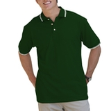Men's Tipped Collar Cuff Pique Polo Shirt Hunter with Ivory Thumbnail