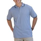 Men's Tipped Collar Cuff Pique Polo Shirt Light Blue with Navy Thumbnail