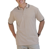 Men's Tipped Collar Cuff Pique Polo Shirt Natural with Black Thumbnail