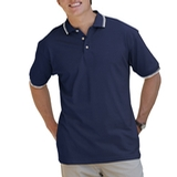 Men's Tipped Collar Cuff Pique Polo Shirt Navy with Ivory Thumbnail