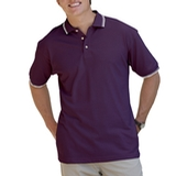 Men's Tipped Collar Cuff Pique Polo Shirt Purple with Ivory Thumbnail