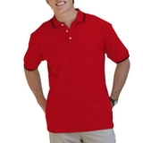 Men's Tipped Collar Cuff Pique Polo Shirt Red with Black Thumbnail