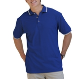 Men's Tipped Collar Cuff Pique Polo Shirt Royal with White Thumbnail