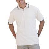Men's Tipped Collar Cuff Pique Polo Shirt White with Black Stripe Thumbnail