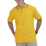 Men's Tipped Collar Cuff Pique Polo Shirt Yellow with Black Thumbnail
